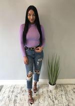 Rib Knit High Neck Long Sleeve Bodysuit lilac