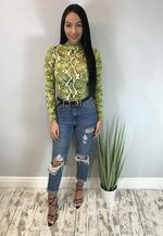 Snake Print High Neck Bodysuit