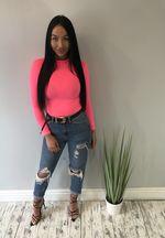 Rib Knit High Neck Long Sleeve Bodysuit Neon pink