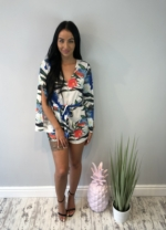 Tropical print split sleeve playsuit.