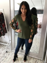 Laser Cut Sleeve V Neck Top khaki
