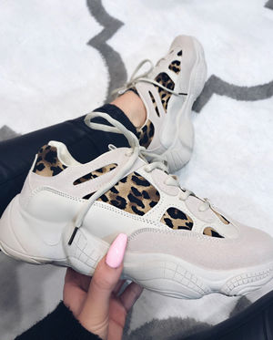 Lucy leopard panel trainers
