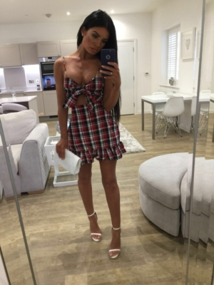 Black & red checked tie detail mini dress