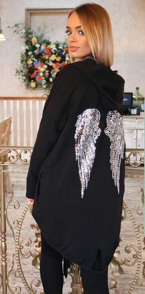 Angle wing sequin jacket black