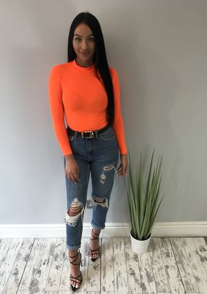 Rib Knit High Neck Long Sleeve Bodysuit Neon orange