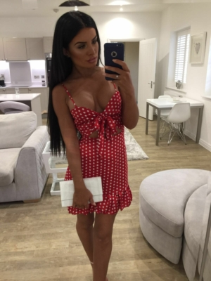 Polka tie front mini dress