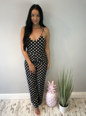 Black polka dot jumpsuit.