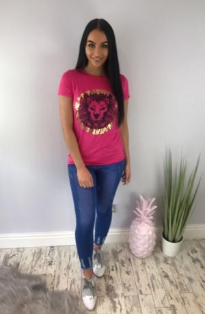 Lion Leaf Tshirt Pink