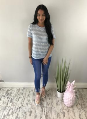 Thin knit summer tshirt blue
