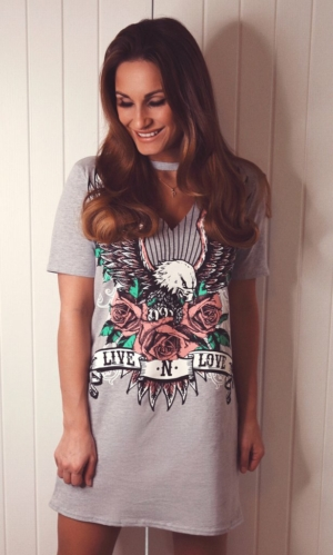 Live n love tshirt/dress grey