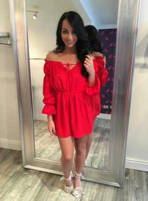 dolls house playsuit red