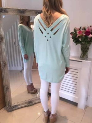 Crestel dipped hem soft knit jumper mint