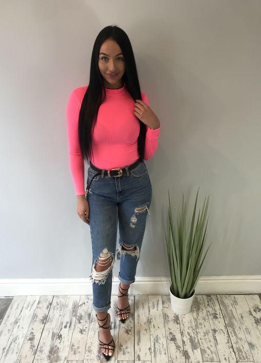 a774623c2890e4 Rib Knit High Neck Long Sleeve Bodysuit Neon pink